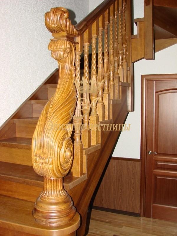 Деревянная лестница из дуба, пригласительный входной столб фигурный, ручная работа