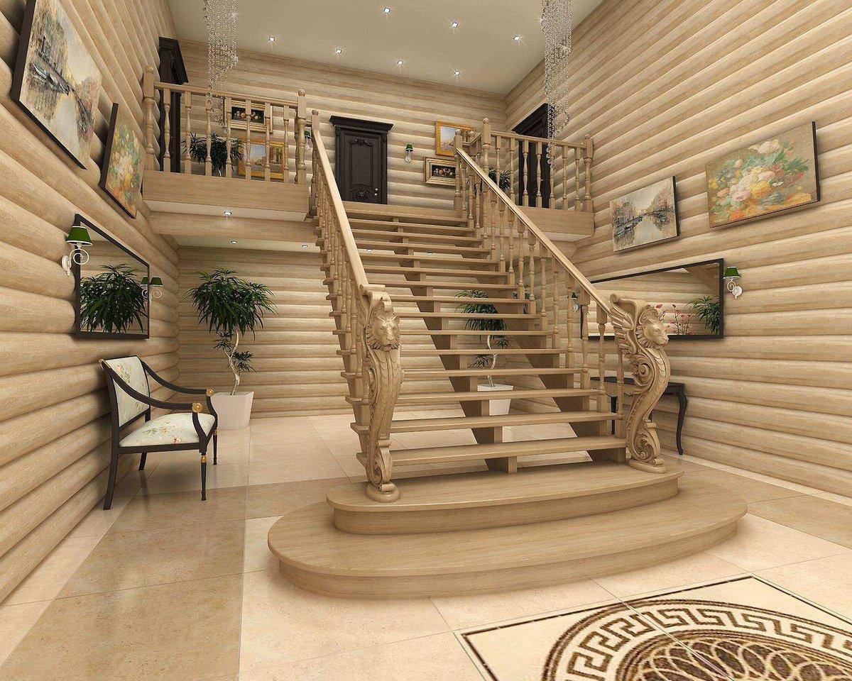 Деревянное ограждение второго этажа и лестничной площадки